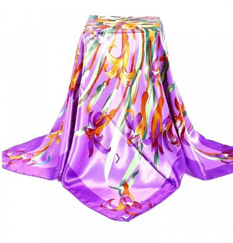 Royal Purple fluorescence Lilies Satin Silk Square Scarf